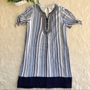 Monteau Navy white embroidered girls dress 12